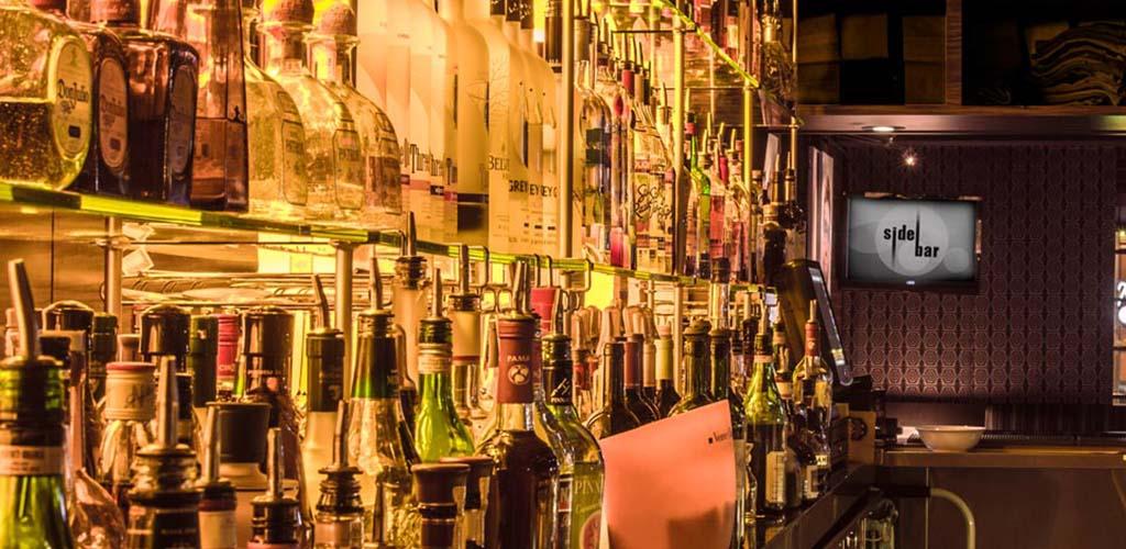 The glorious lit bar at SideBar