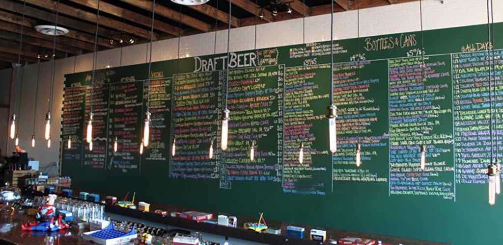 The charming chalkboard menu at The Whining Pig