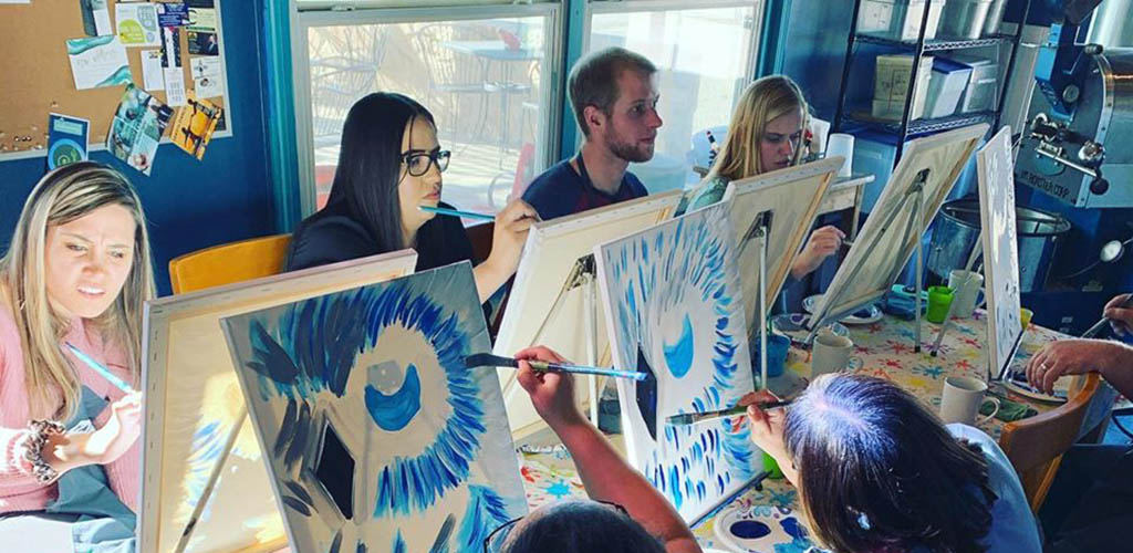 A painting class at The Bean Cafe