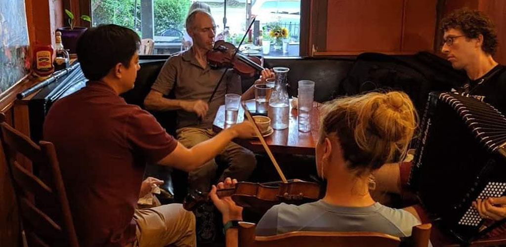 A spontaneous musical performance at The Runcible Spoon Cafe and Restaurant