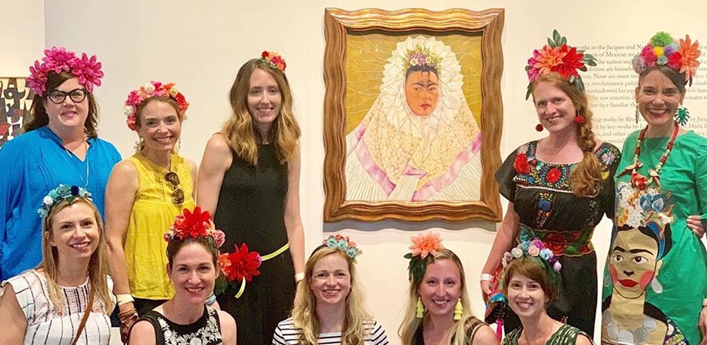 Beautiful women dressed as Frida Kahlo at Frist Art Museum in Nashville