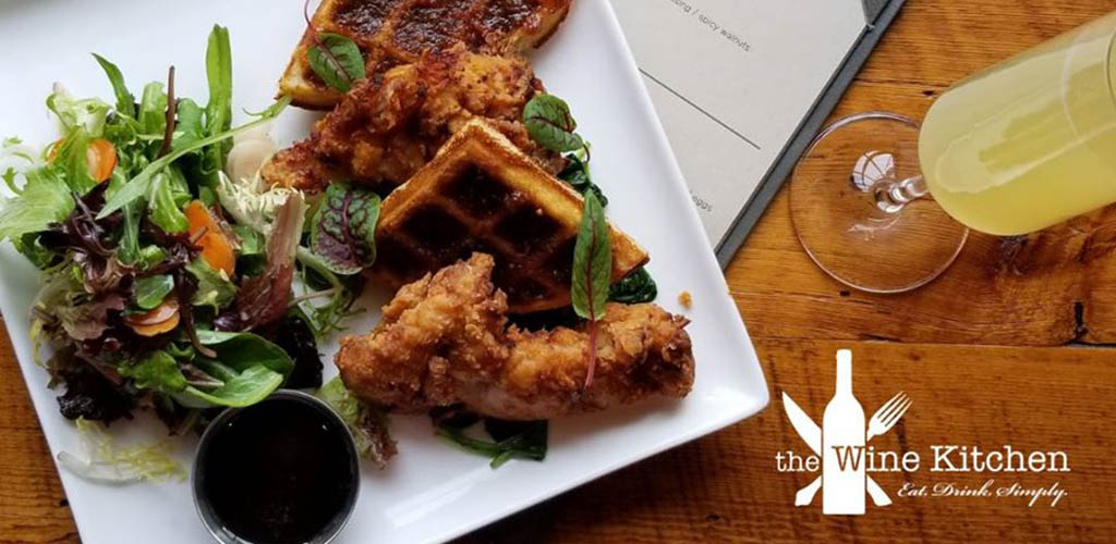 Chicken and waffles at The Wine Kitchen