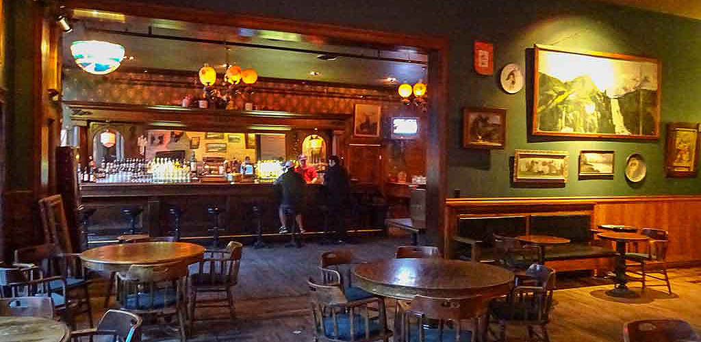 The bar at Pengilly Saloon