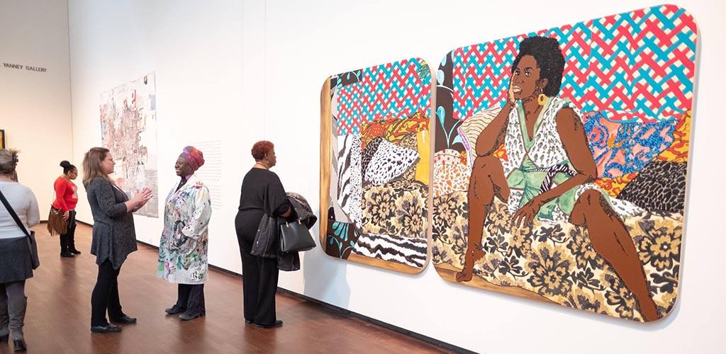 Cougars in Nebraska admiring the beautiful artwork at Joslyn Art Museum