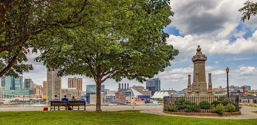 A beautiful view of downtown from Federal Hill Park