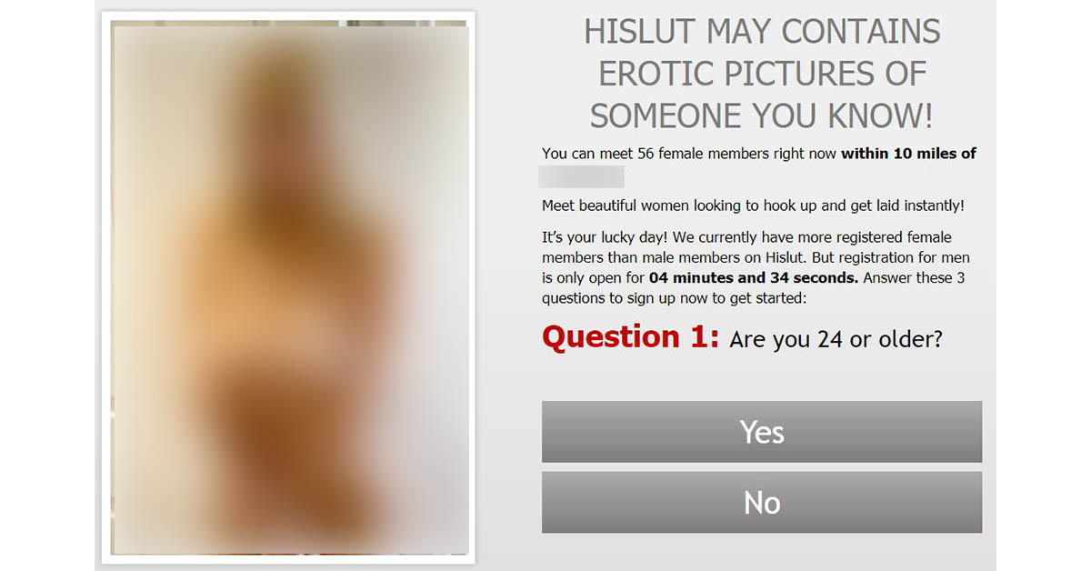 Homepage for our hislut.com review