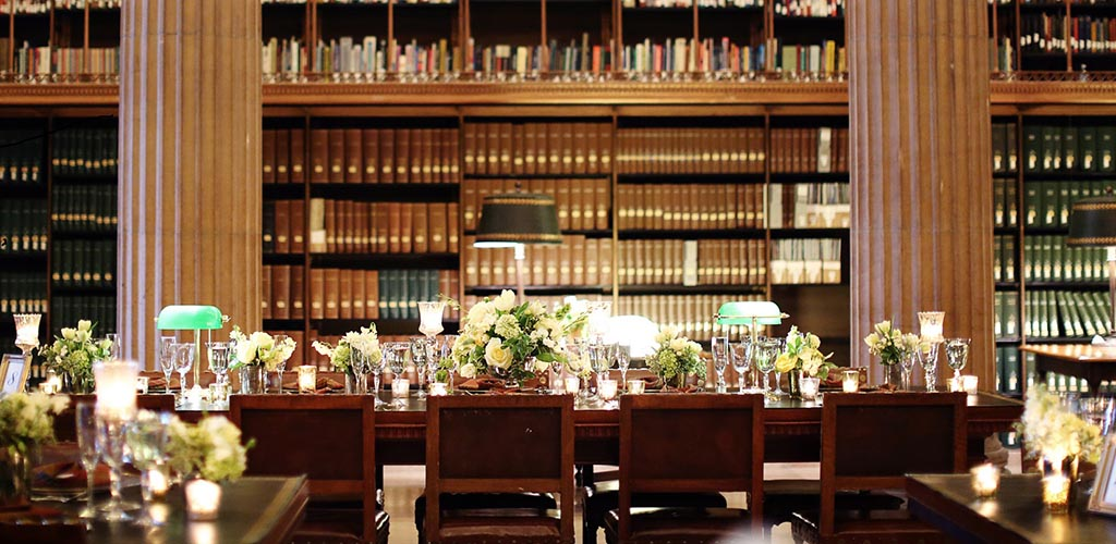 A classy wedding setup at the James J. Hill Center's Library