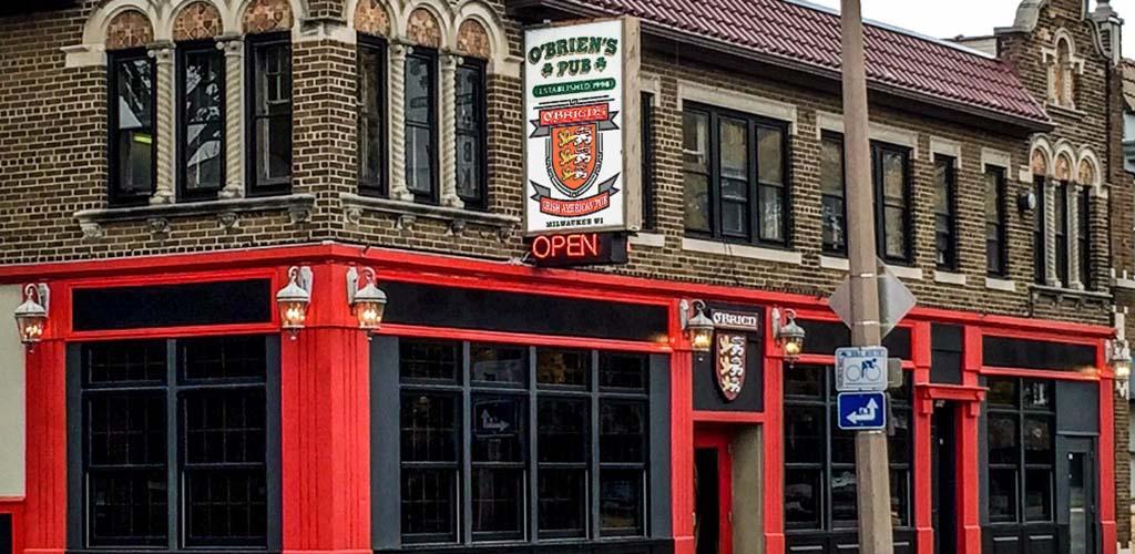 The brick exterior of O'Briens Irish Pub