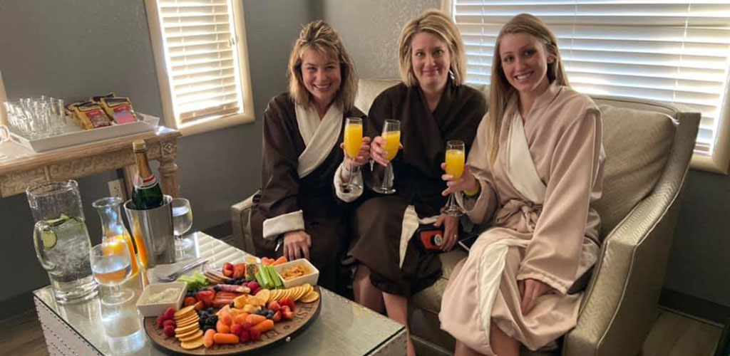 Ladies enjoying refreshments at The Day Spa