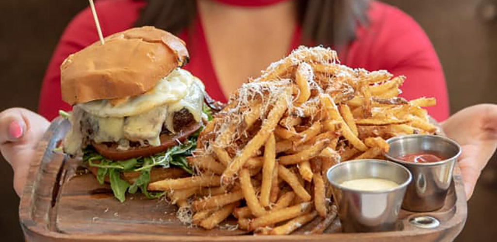 Burger and fries from Circe Restaurant