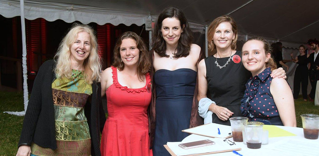 Ladies all dressed up for an event at the Newport Art Museum