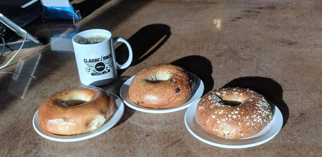 Coffee and bagels from Classic Rock Coffee