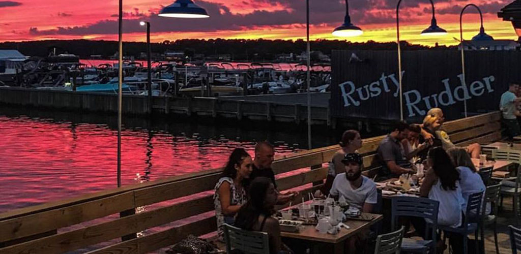 The sunset at the patio of Rusty Rudder