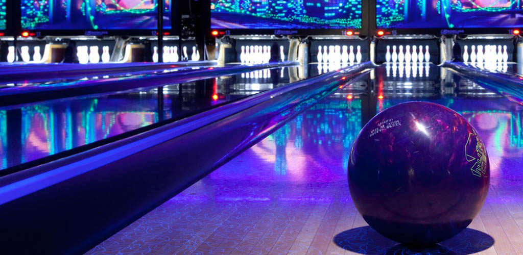 The cool neon-lit bowling alleys at The Bowler Fargo