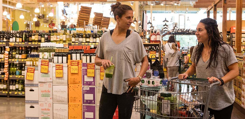 Two women shopping at Whole Foods