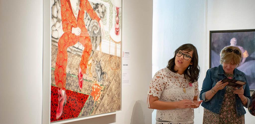 Arkansas MILFs admiring the modern artwork at the Arkansas Art Center