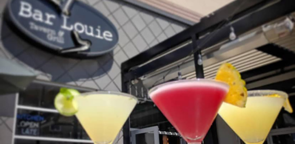 Colorful cocktails right outside Bar Louie