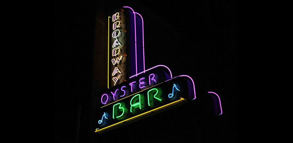 The Broadway Oyster Bar neon sign