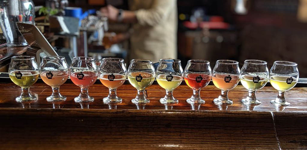 A row of delectable ciders from Black Apple