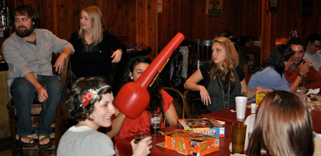 A party in Tiny Tim's Pizza and West Mountain Brewing Company