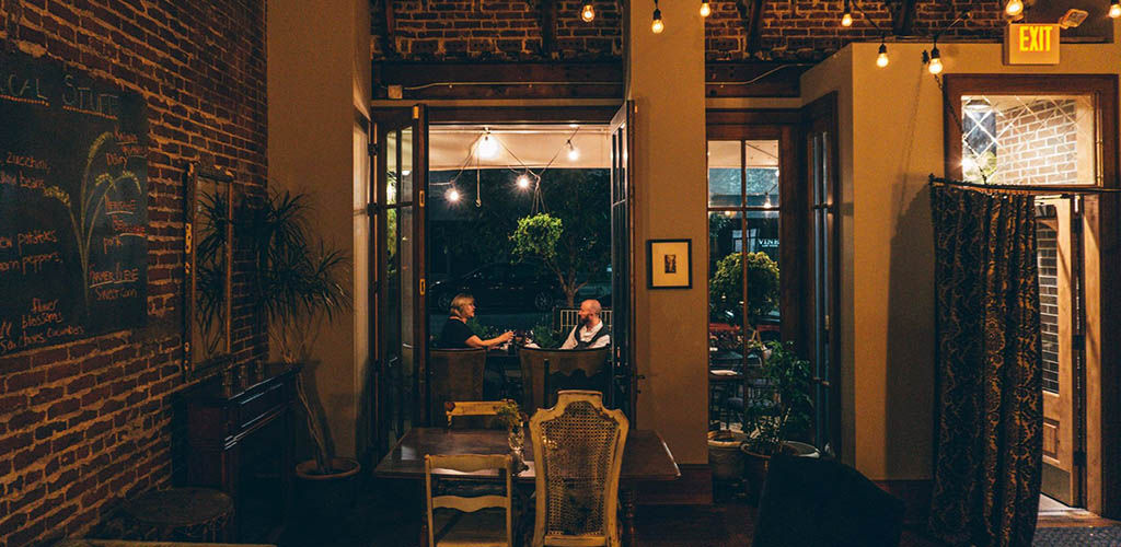 The rustic interiors of Cobble Hill at night