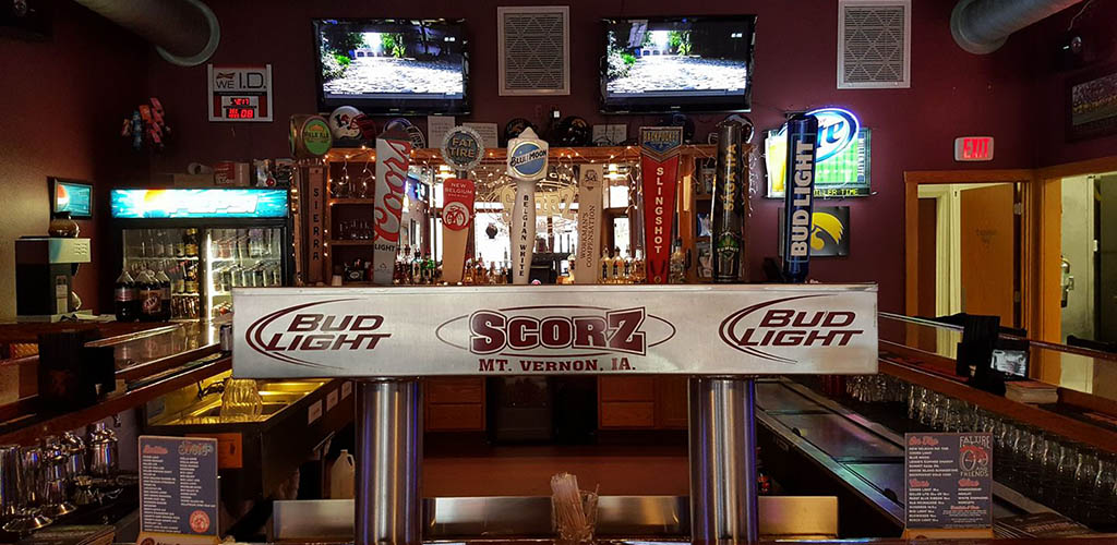 The bar area at Scorz Bar and Grill
