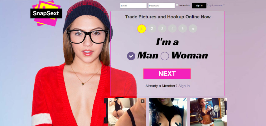 Homepage for our Snap Sext review
