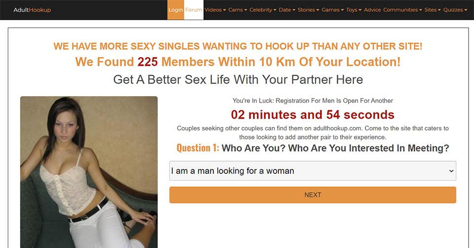 AdultHookup landing page