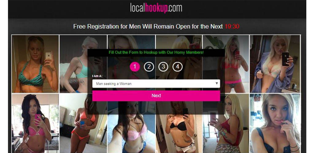 Homepage we reviewed of localhookup.com