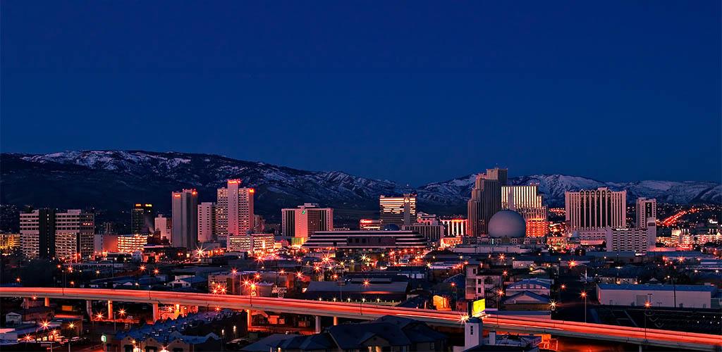 Reno downtown at night