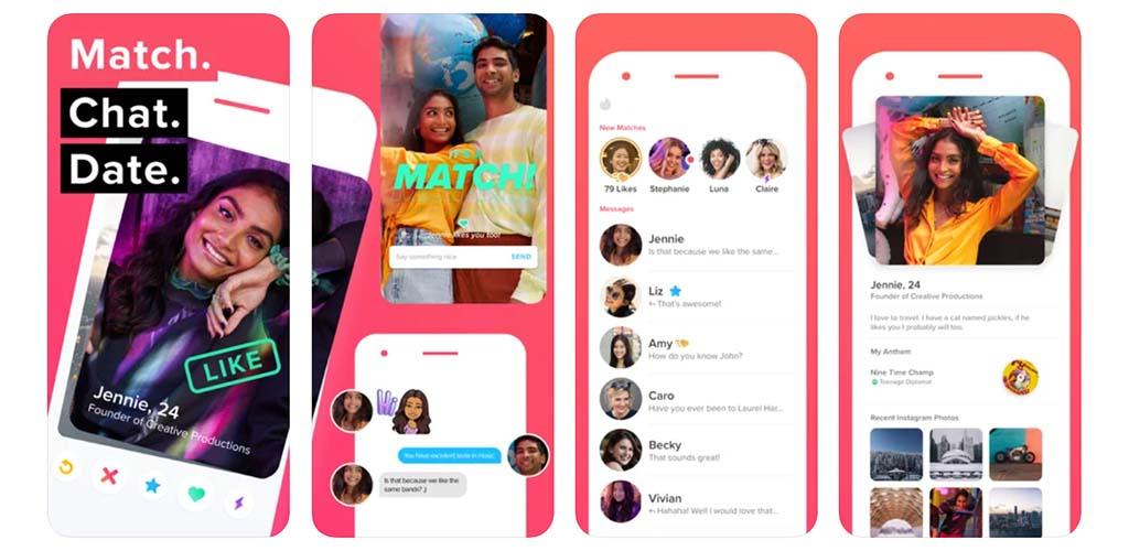 Screenshots of Tinder