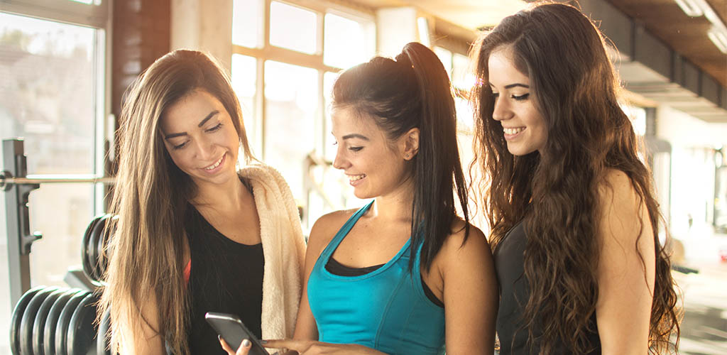 A group of women in Thornton using an app