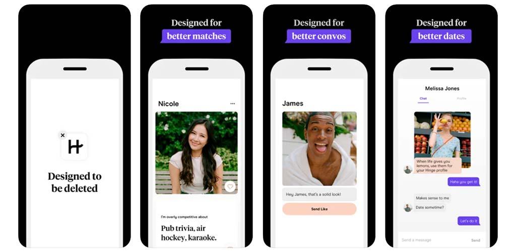App screenshots of Hinge