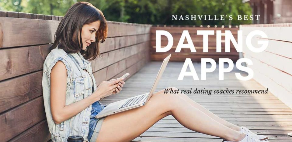 Girl on her phone and laptop using the best dating apps and sites in Nashville