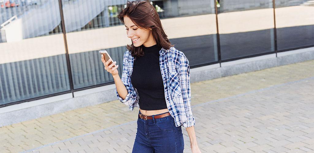 Woman smiling at good sexting