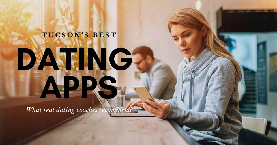 Woman in a coffee shop browsing her device for the best Tucson dating apps