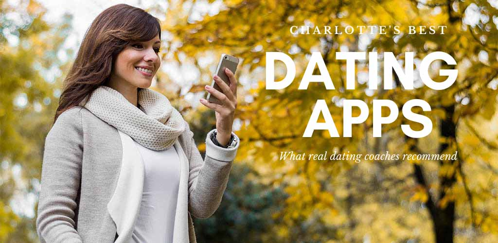 Woman checking out the best dating apps in Charlotte while in a park in autumn