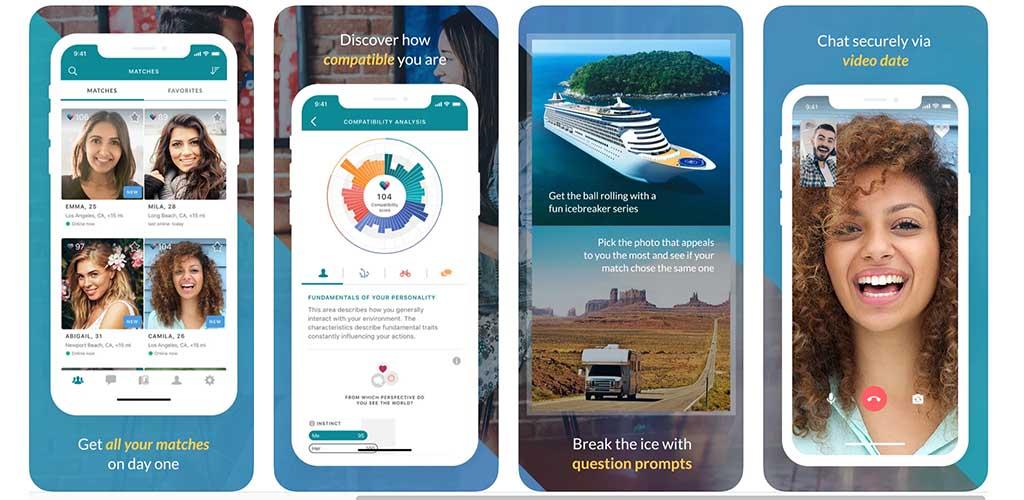 eHarmony screenshots from the app