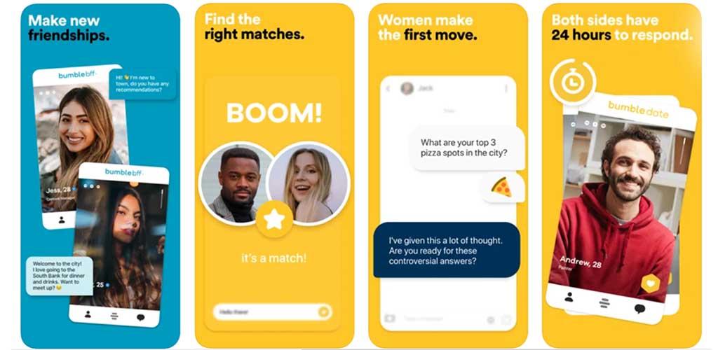 Screenshots of Bumble app