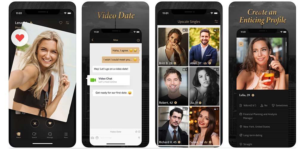Screenshots of Luxy app