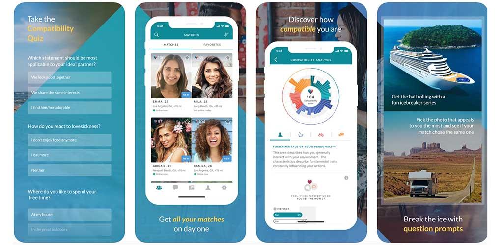 Screenshots of eHarmony app