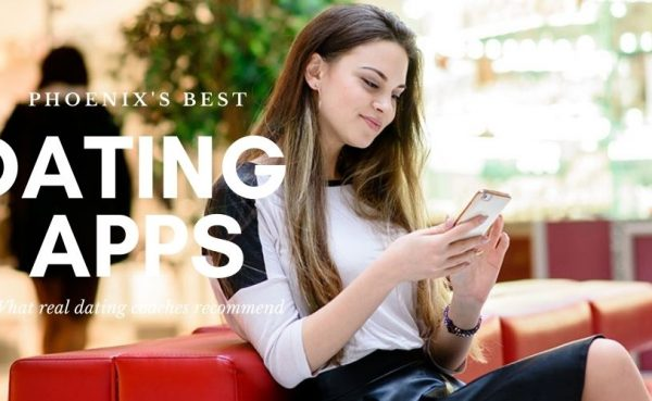 A woman checking out the best dating apps and sites in Phoenix while at a mall
