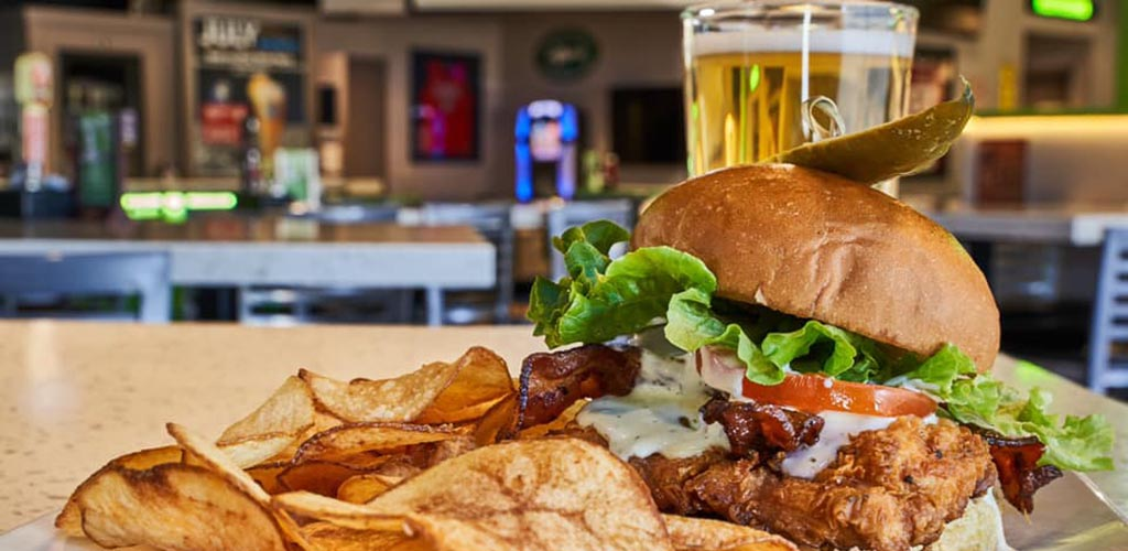 A burger from The Draft Sports Bar & Grille