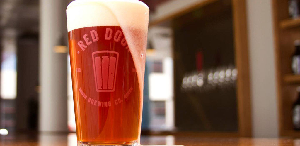 Overflowing beer at Red Door Brewing