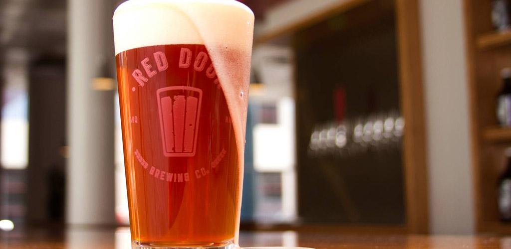 Overflowing beer at Red Door Brewing
