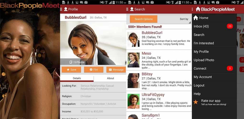 Black People Meet app interface