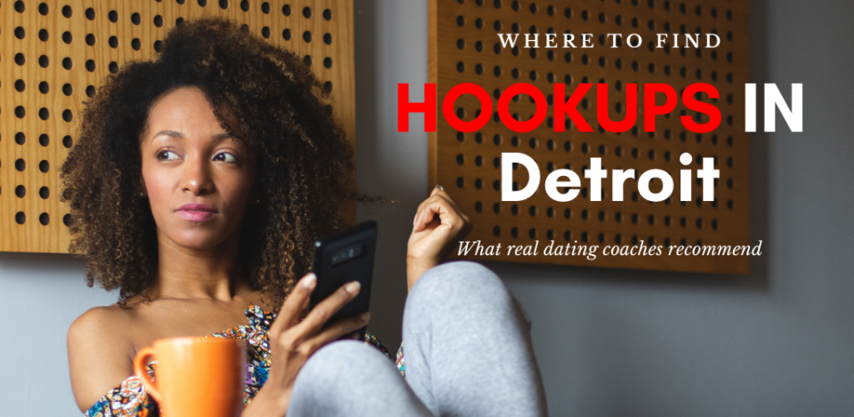 A woman looking for Detroit hookups while having coffee