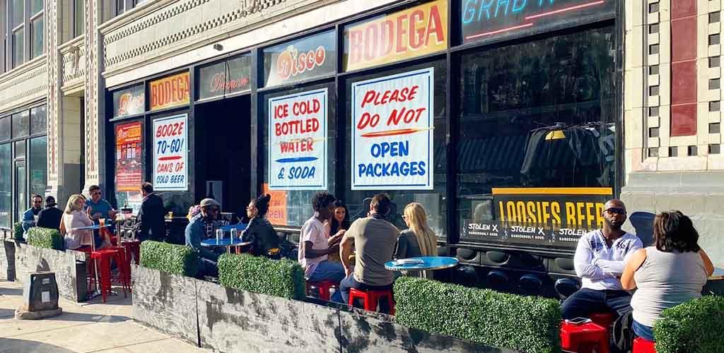 The patio of Debonair Social Club