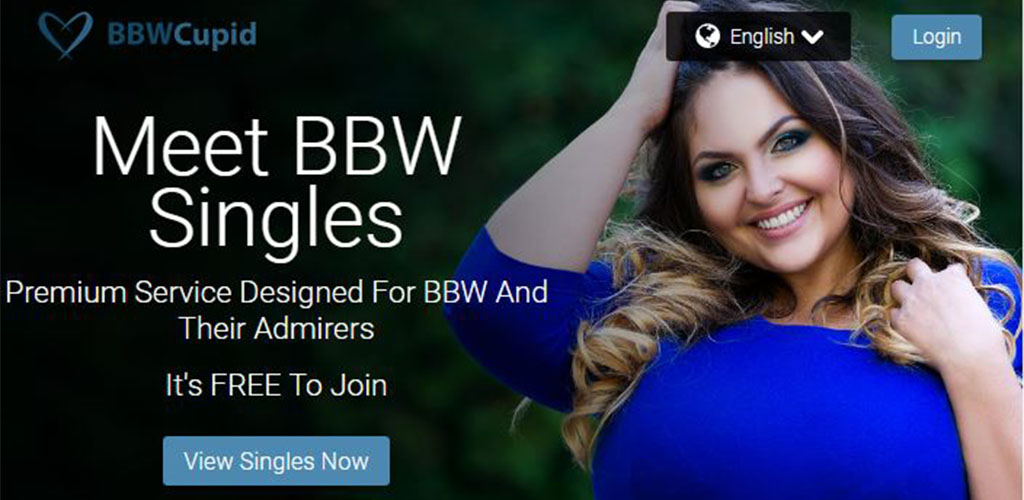 Homepage for BBW Dating app BBWcupid.com