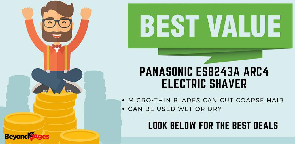 The Panasonic ES8243A ARC4 Electric Shaver is the Best value men's razor for black men with sensitive skin